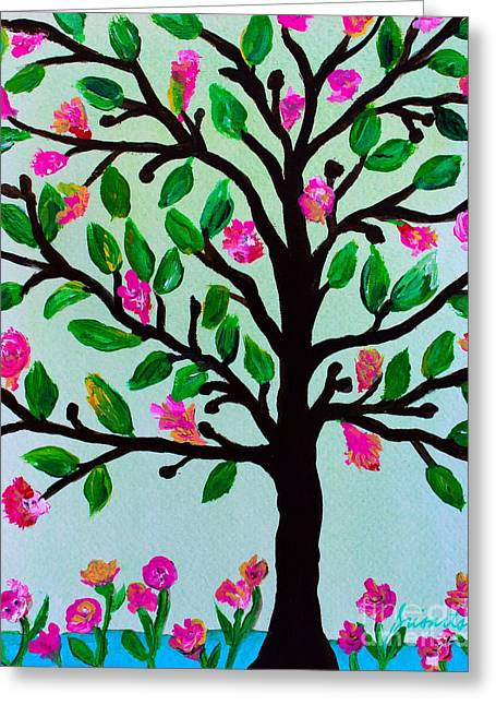 Greeting Card featuring the painting Tree Of Essence by Pristine Cartera Turkus