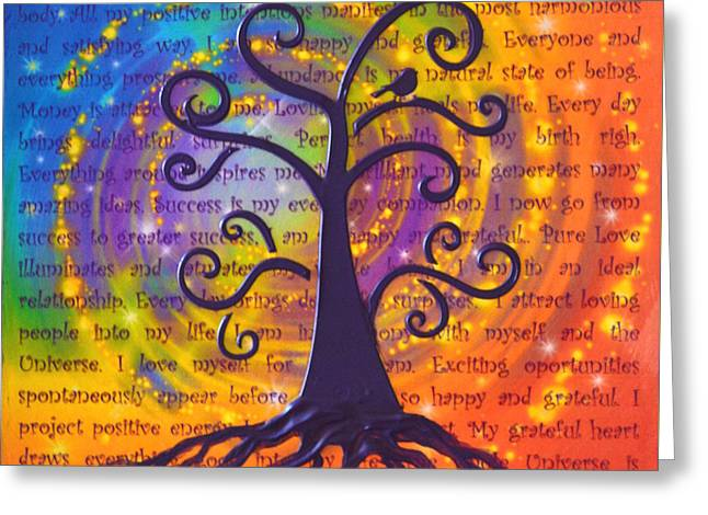 Tree Of Life And Positive Affirmations Greeting Card