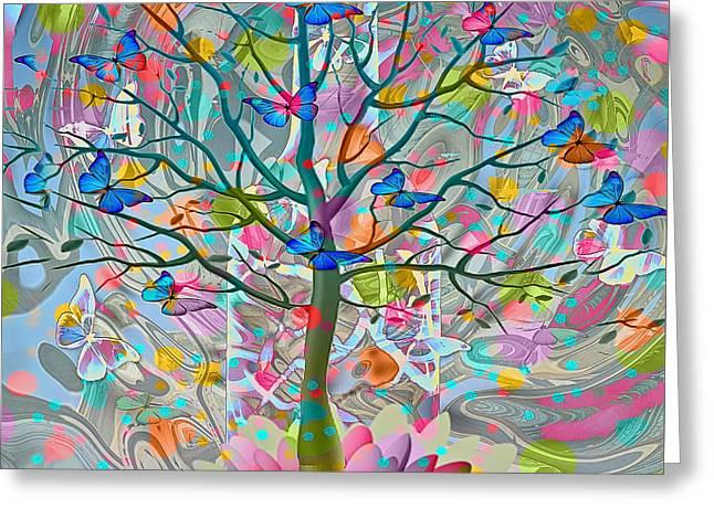 Greeting Card featuring the digital art Tree Of Life by Eleni Mac Synodinos
