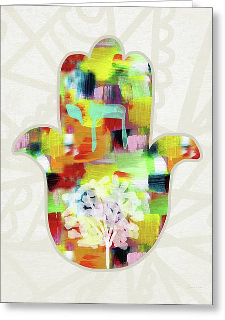 Tree Of Life Hamsa- Art By Linda Woods Greeting Card by Linda Woods