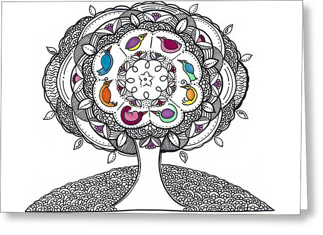 Tree Of Life - Ink Drawing Greeting Card
