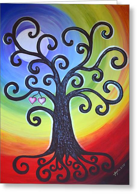 Greeting Card featuring the painting Tree Of Life Love And Togetherness by Agata Lindquist