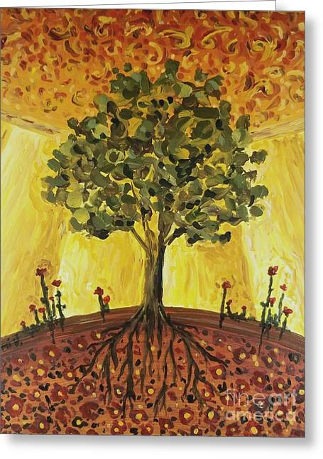 Greeting Card featuring the painting Tree Of Life by Maria Langgle
