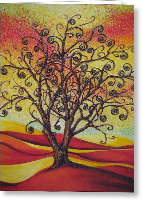 Tree Of Life Greeting Card by Mirjana Gotovac