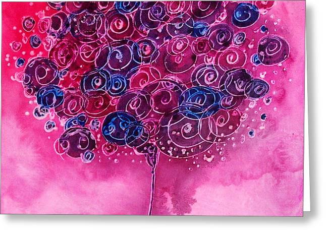 Tree Of Life Pink Swirl Greeting Card