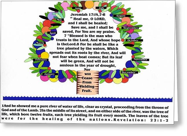 Tree Of Life And Scripture Greeting Card by Carliss Prosser