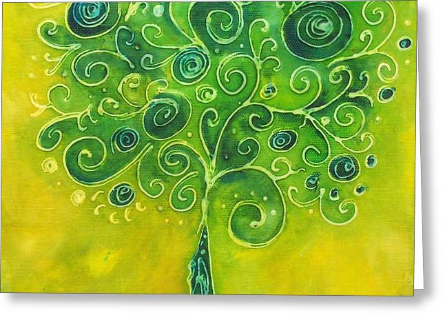 Tree Of Life Yellow Swirl Greeting Card