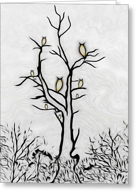 Tree Of Owls Greeting Card by Ernie Echols