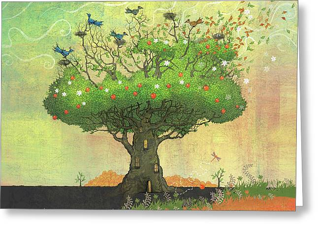 Tree Of Seasons Greeting Card by Dennis Wunsch