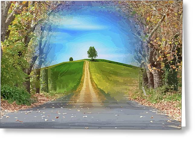 Tree On The Hill Montage Greeting Card