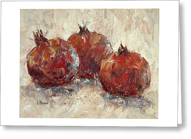 Three Pomegranates Greeting Card by Jill Musser