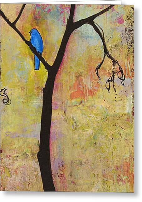 Tree Print Triptych Section 3 Greeting Card by Blenda Studio