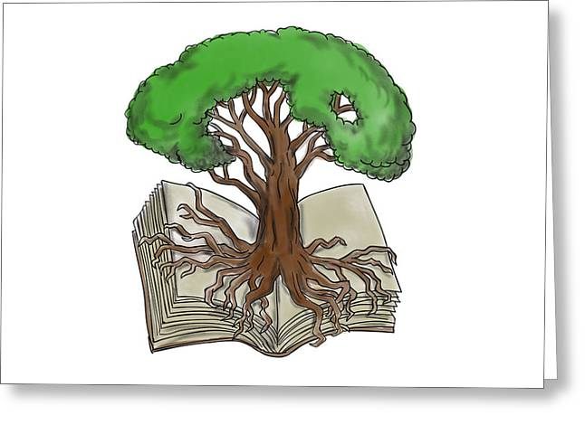 Tree Rooted On Book Tattoo Greeting Card