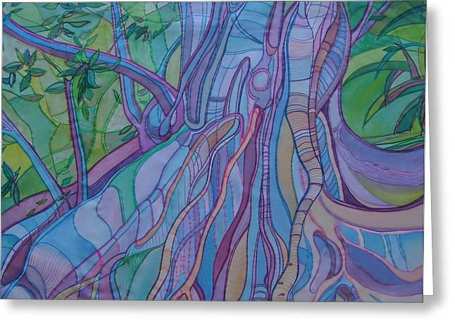 Tree Roots And Grasses Greeting Card by Sue Wilson