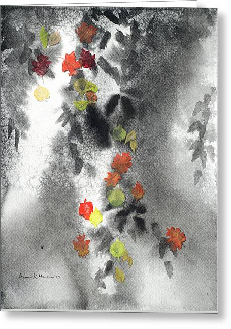 Tree Shadows And Fall Leaves Greeting Card
