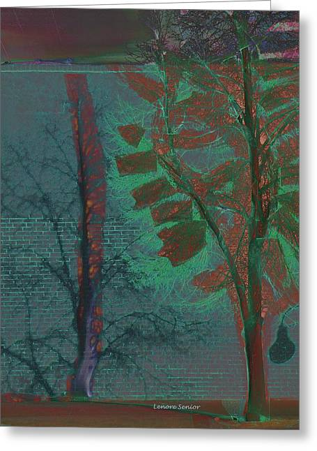 Tree Shadows At Midnight Greeting Card by Lenore Senior