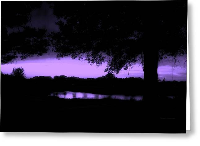 Tree Silhouette By The Pond Purple Greeting Card by Thomas Woolworth
