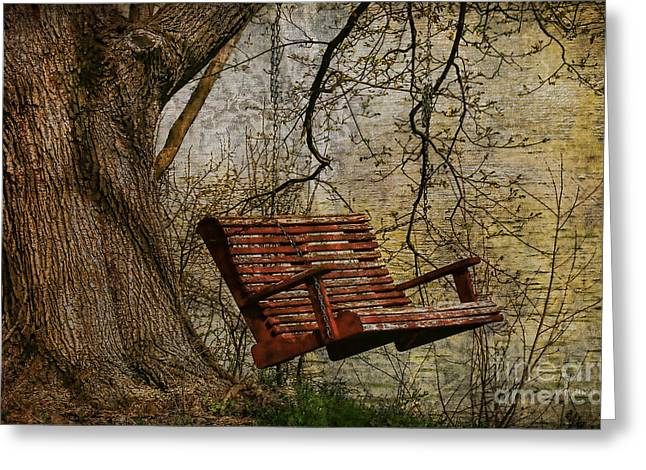 Tree Swing By The Lake Greeting Card by Deborah Benoit