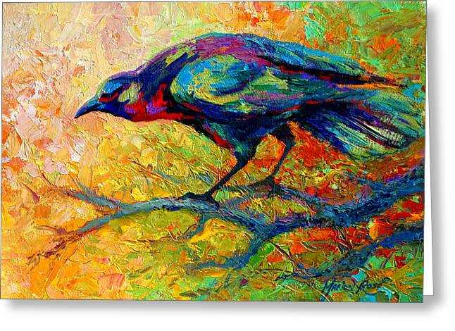 Tree Talk - Crow Greeting Card by Marion Rose