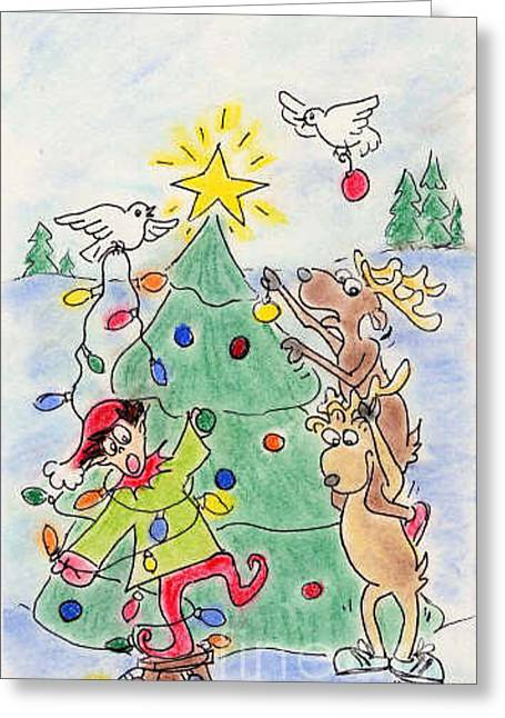 Tree Trimming Greeting Card by Vonda Lawson-Rosa