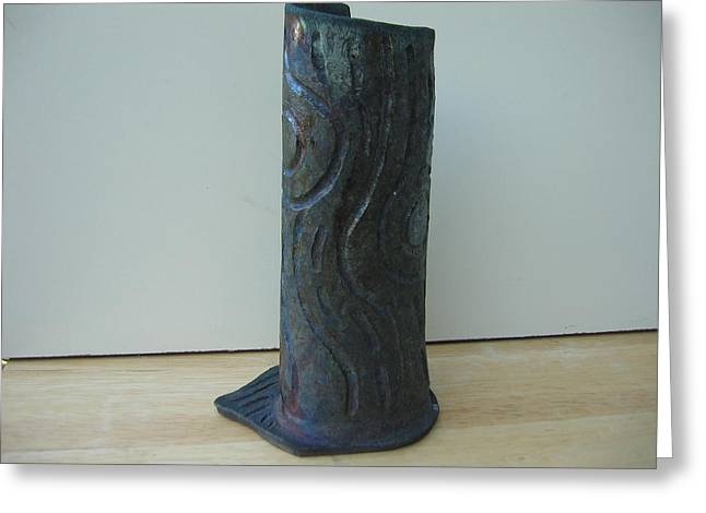 Raku Ceramics Greeting Cards - Tree trunk vase Greeting Card by Julia Van Dine