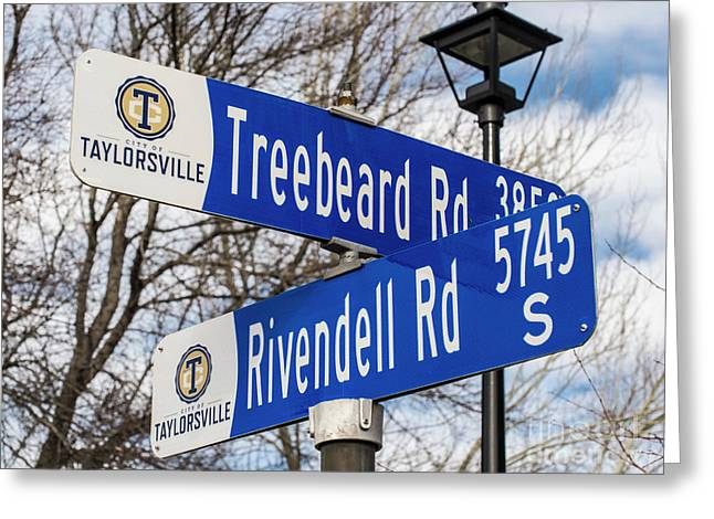 Treebeard And Rivendell Street Signs Greeting Card by Gary Whitton
