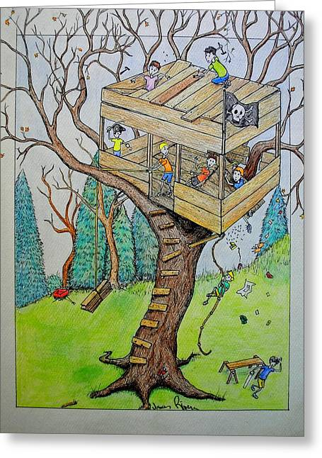 Greeting Card featuring the painting Treehouse by Josean Rivera
