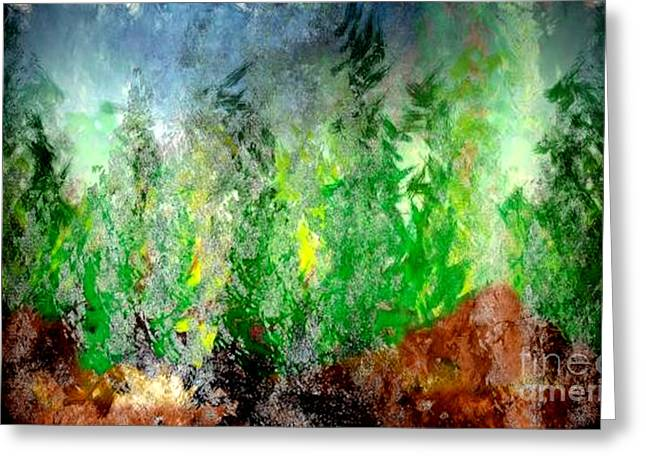 Greeting Card featuring the painting Trees 4 by John Krakora