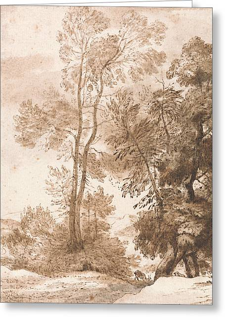 Trees And Deer Greeting Card by John Constable