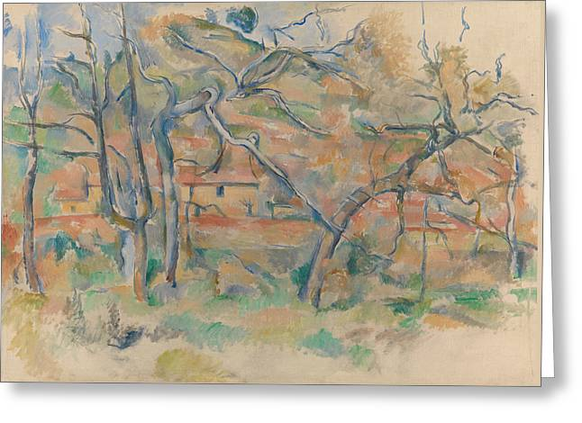 Trees And Houses Greeting Card by Paul Cezanne