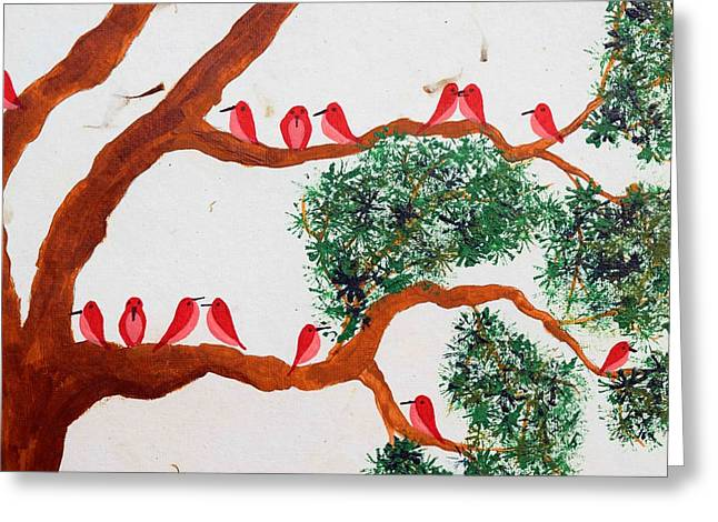 Trees And Red Birds 1 Greeting Card by Sumit Mehndiratta