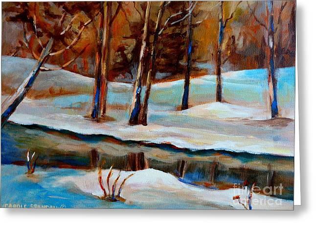 Trees At The Rivers Edge Greeting Card by Carole Spandau