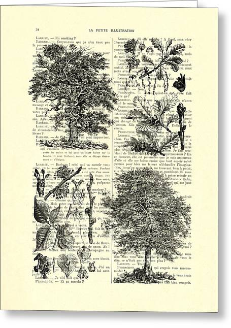 Trees Black And White Illustration Greeting Card by Madame Memento