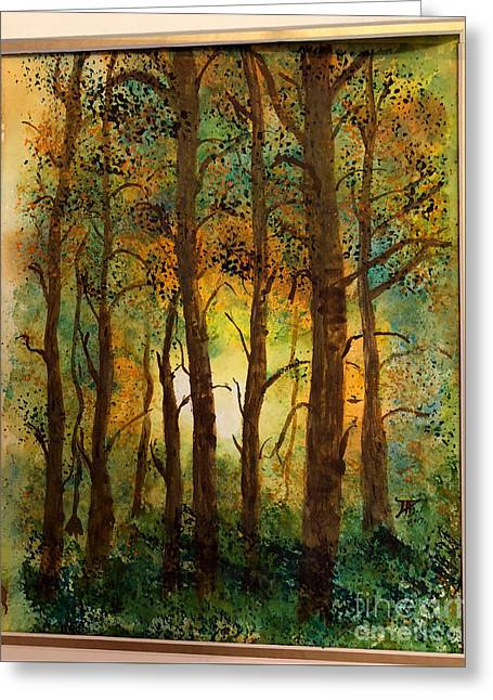 Greeting Card featuring the painting Trees by Donald Paczynski