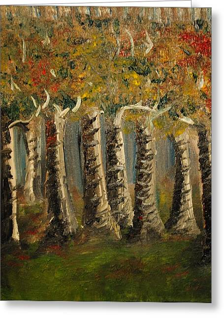 Greeting Card featuring the painting Trees by Evelina Popilian