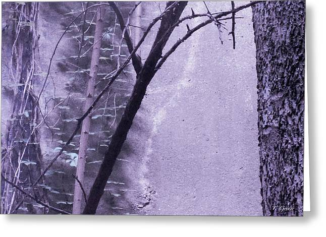 Trees Growing In Silo - Purple Landscape  Edition Greeting Card by Tony Grider