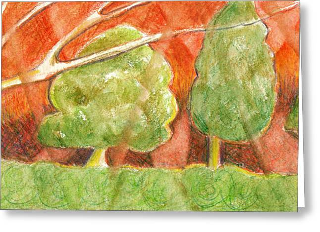 Trees In Light Greeting Card by Linda Kay Thomas