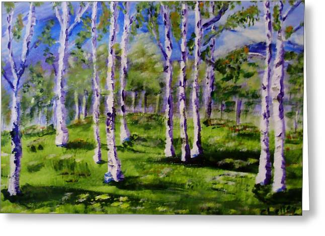 Trees In The Meadow Greeting Card by Shelley Bain