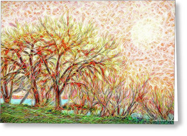 Greeting Card featuring the digital art Trees In Winter Under Full Moon At Dusk by Joel Bruce Wallach