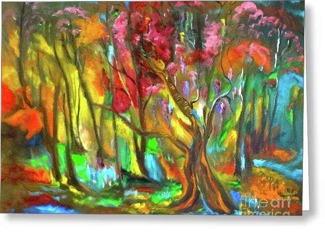 Trees Greeting Card by Jenny Lee