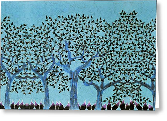 Treescape At Night Greeting Card by Sumit Mehndiratta