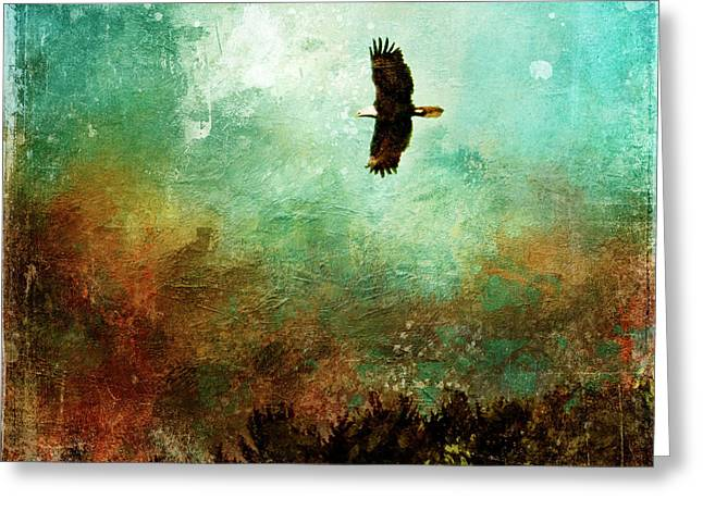 Treetop Eagle Flight Greeting Card