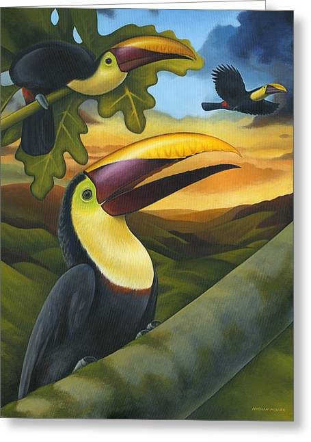 Treetop Toucans Greeting Card by Nathan Miller