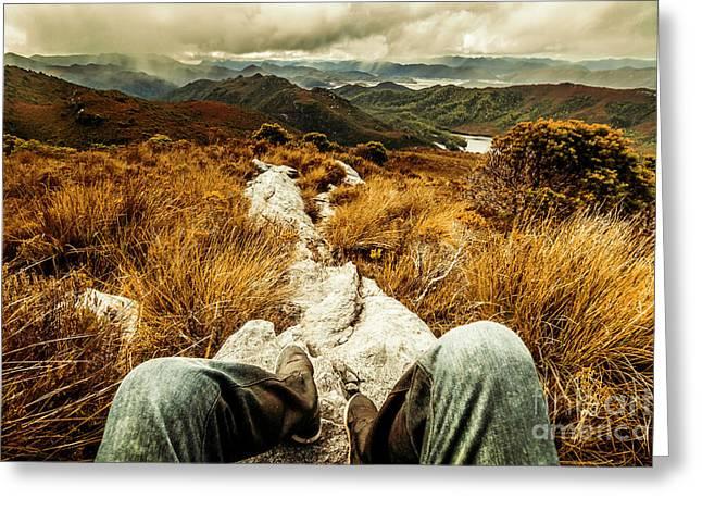 Trekking Tasmanian Mountains Greeting Card