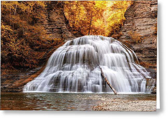 Treman Lower Falls - Indian Summer Greeting Card