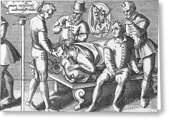 Trepanning Being Performed, 1594 Greeting Card by Wellcome Images