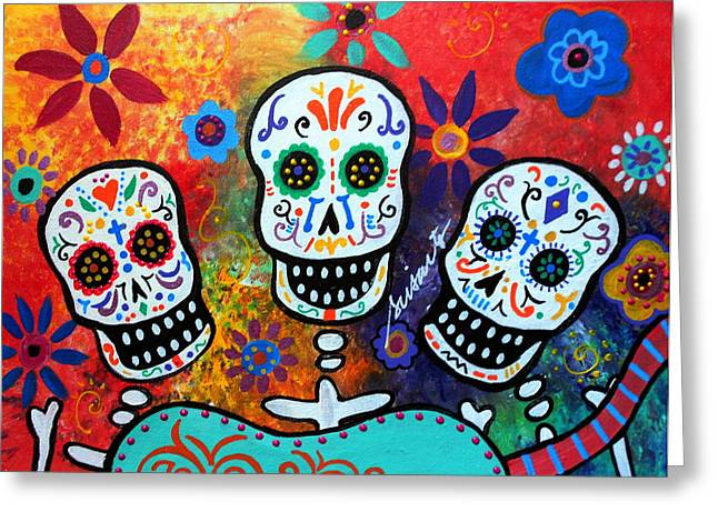 Tres Amigos Guitar Greeting Card