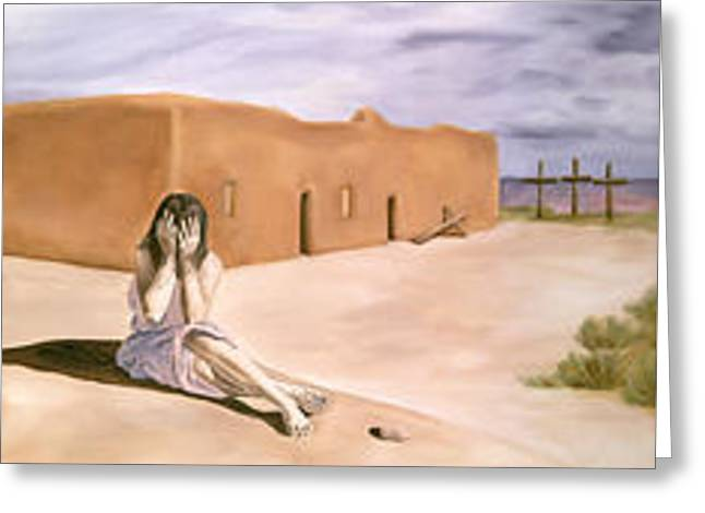 Tres Cruces Greeting Card by Sandi Snead
