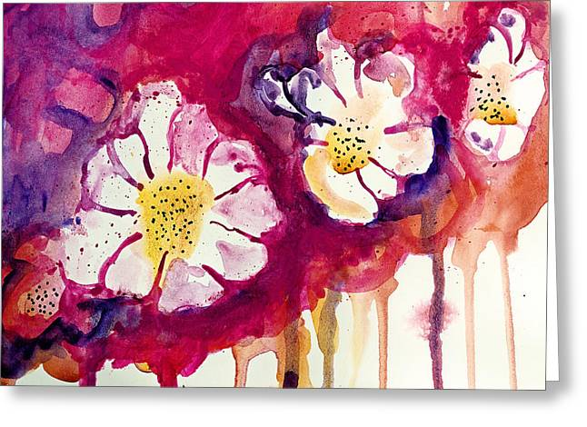 Tres Floras Greeting Card by Tonya Doughty