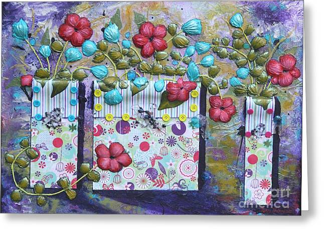Greeting Card featuring the mixed media Tres Jarrones De Flor by Terri Thompson